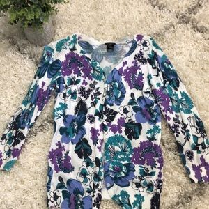 Ann Taylor blue purple and white floral cardigan